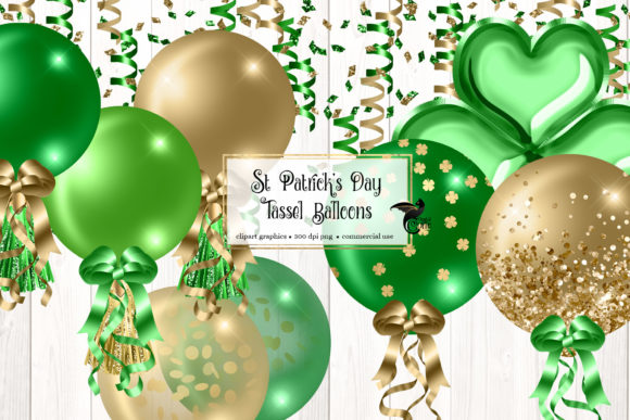 Print on Demand: St Patrick's Day Tassel Balloons Clipart Graphic Illustrations By Digital Curio