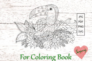 Toucan Bird Coloring Book Graphic Coloring Pages & Books Adults By somjaicindy