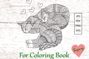 Two Cats Sleeping for Coloring Book Graphic Coloring Pages & Books Adults By somjaicindy