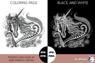 Unicorn Tangle Coloring Graphic Coloring Pages & Books Adults By Alinart