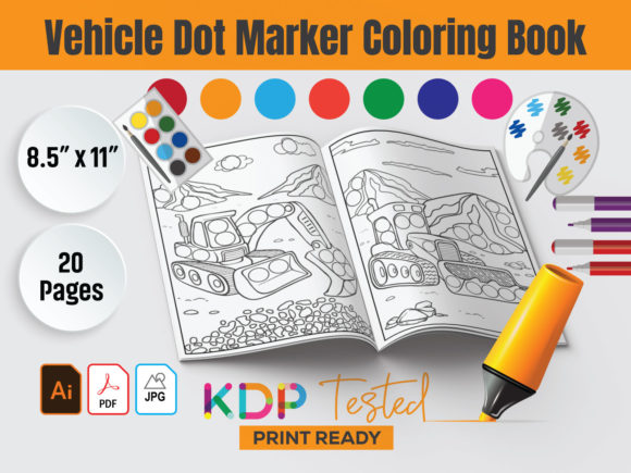 Vehicle Dot Marker Coloring Book KDP Grafik KPD Innenseiten von GraphicTech360