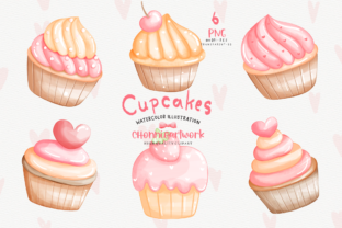 Print on Demand: Watercolor Cupcake Clipart, Cupcake Png Graphic Illustrations By Chonnieartwork