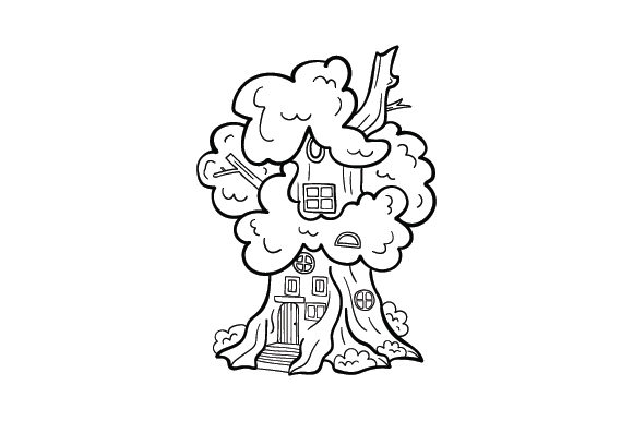 Fairy House Coloring Page Designs & Drawings Craft Cut File By Creative Fabrica Crafts