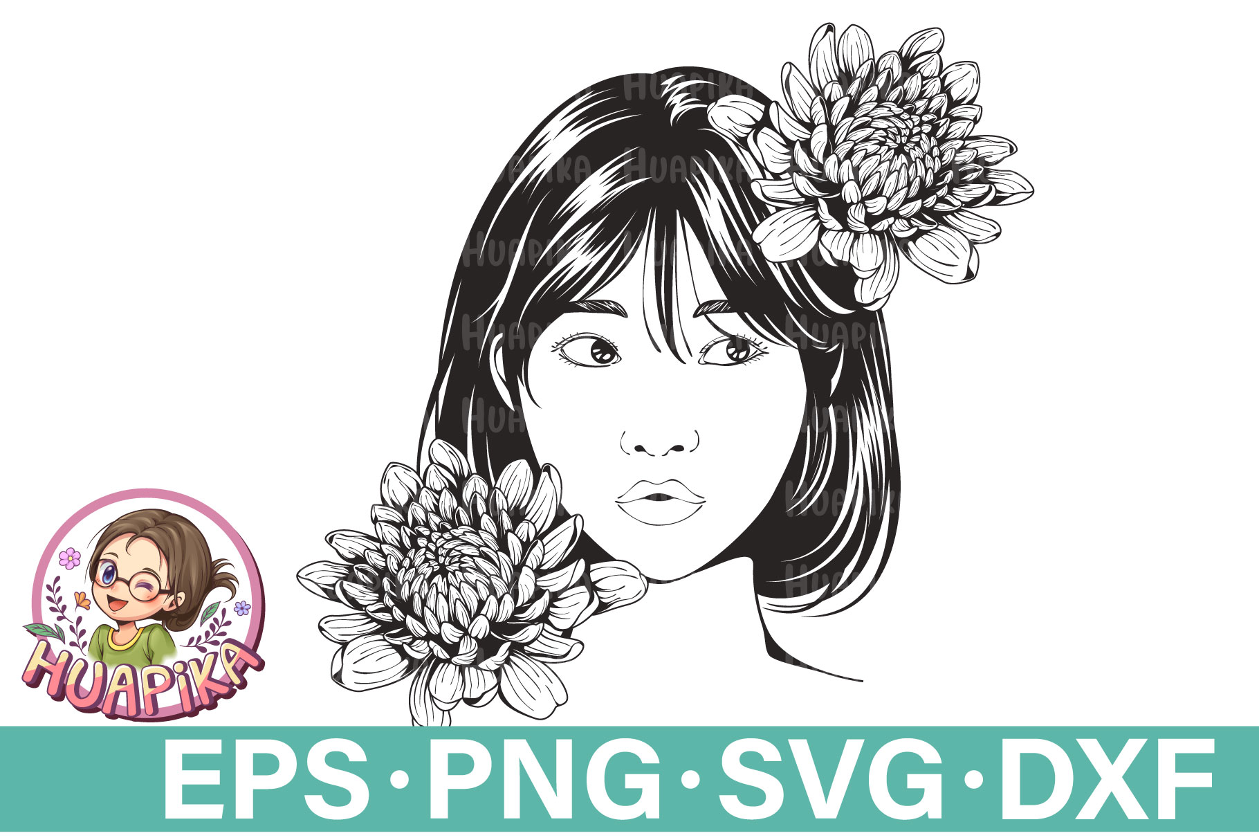 Beautiful Woman Short Hair and Flowers SVG File