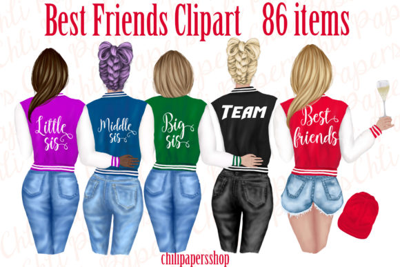 Best Friends Clipart,Collage Jackets Graphic Illustrations By ChiliPapers