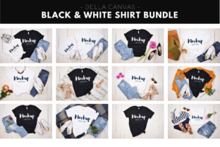 Black and White T-Shirt Mockup Bundle Graphic Product Mockups By MyMockupStudio