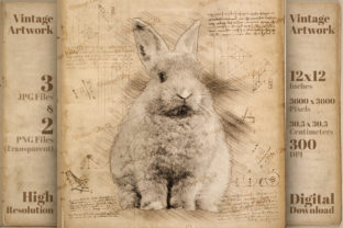 Print on Demand: Bunny Vintage Da Vinci Drawing Style Graphic Illustrations By Vintage 12by12