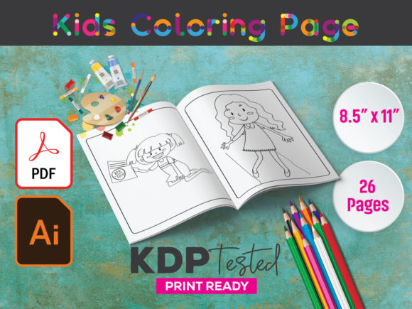 Children Coloring Page KDP Interior Graphic KDP Interiors By GraphicTech360
