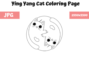Print on Demand: Coloring Book Page - Ying Yang Cat Graphic Coloring Pages & Books Adults By MyBeautifulFiles