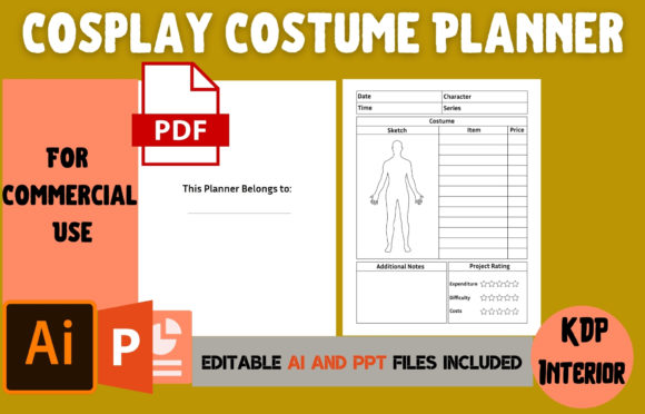 Print on Demand: Cosplay Costume Planner | KDP Interior Graphic KDP Interiors By Cool Worker