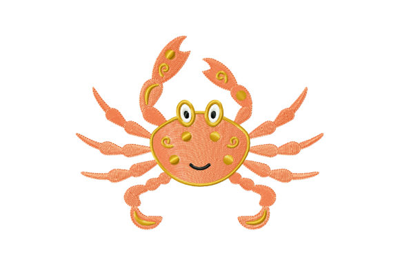 Print on Demand: Cute Cartoon Crab Fish & Shells Embroidery Design By EmbArt