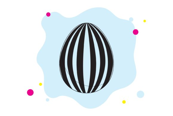 Easter Egg Black Stripes Graphic Illustrations By fadhiesstudio
