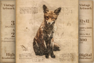 Print on Demand: Fox Vintage Da Vinci Drawing Style Graphic Illustrations By Vintage 12by12