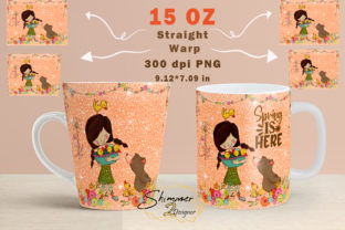 Print on Demand: Glitters Spring with Girl, Bear, Ducks Graphic Print Templates By shimmer2designer