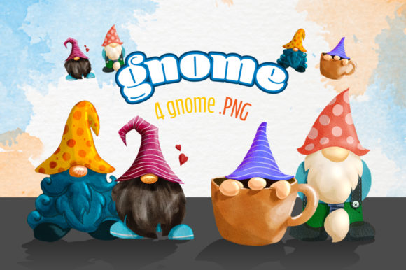 Gnomes Watercolor Clipart Pack. Graphic Illustrations By ceropoly