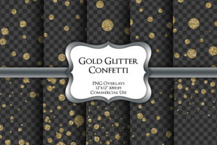 Print on Demand: Gold Glitter Confetti Transparent PNG Graphic Illustrations By Party Pixelz