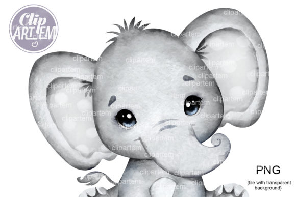 Print on Demand: Gray Baby Elephant PNG Clip Art, Unisex Graphic Illustrations By clipArtem