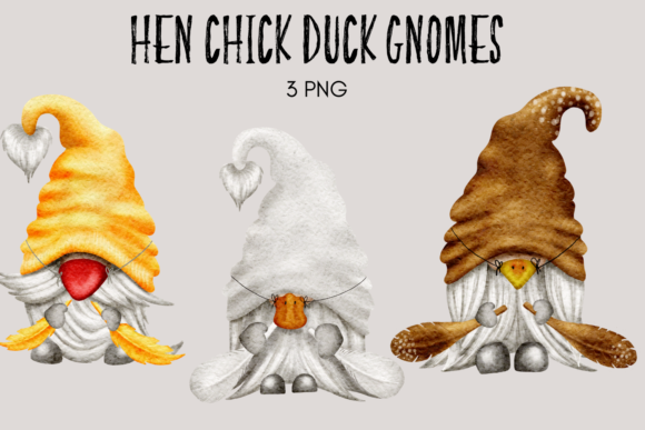 Print on Demand: Hen Duck Chick Gnome Clipart Graphic Illustrations By Celebrately Graphics