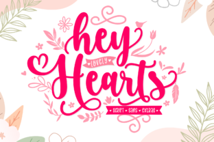 Print on Demand: Hey Lovely Hearts Manuscrita Fuente Por Holydie Studio