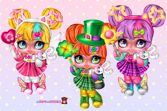 Print on Demand: Lilly Doll with Options PNG Graphic Illustrations By ladymishka