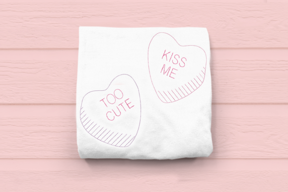 Linework Candy Conversation Hearts Valentinstag Stickdesign von DesignedByGeeks