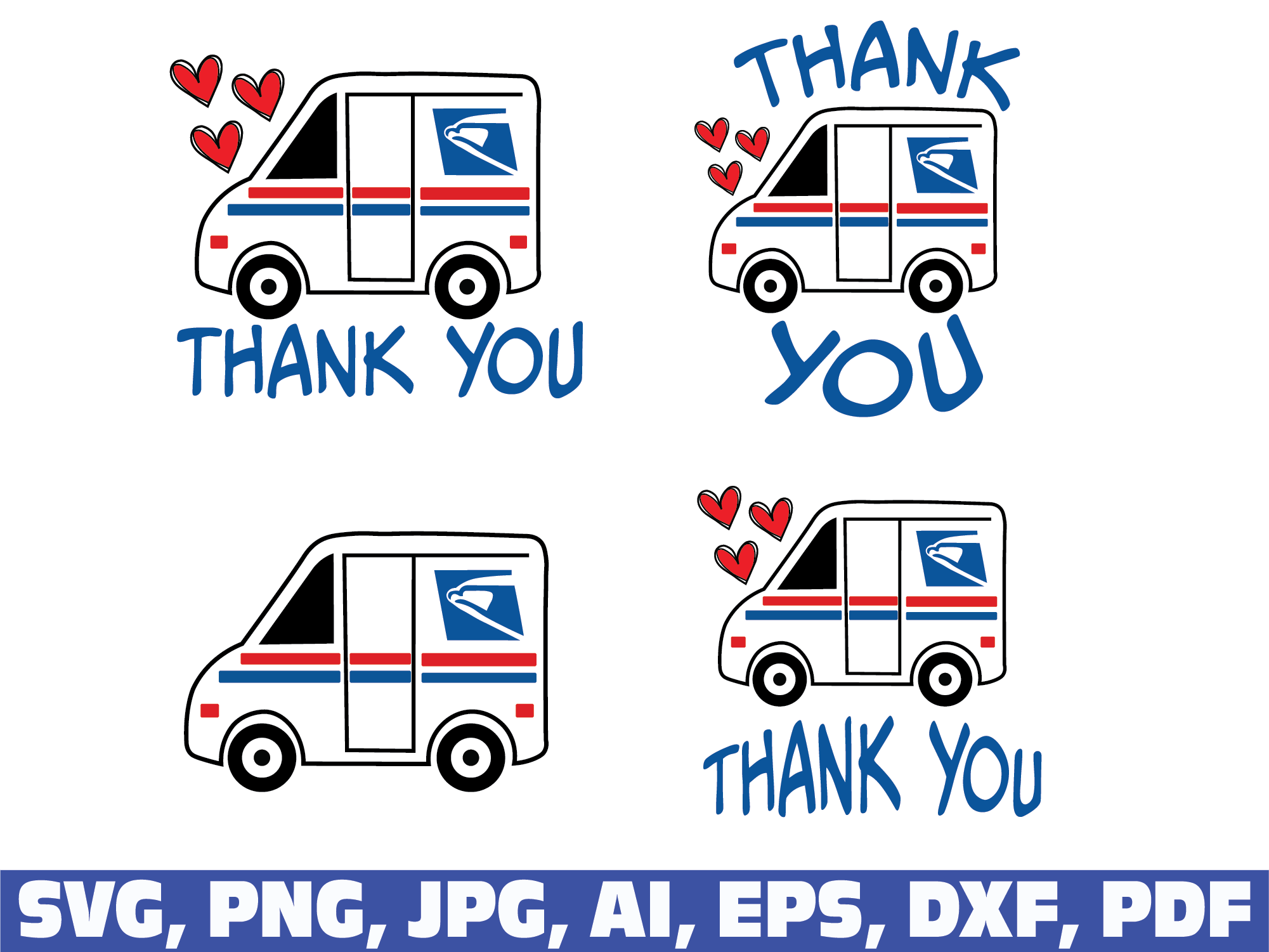 Mail Truck Thank You SVG File
