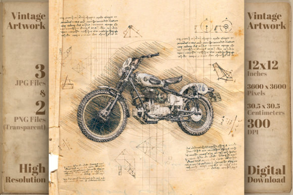 Print on Demand: Motorcycle Retro Da Vinci Drawing Style Graphic Illustrations By Vintage 12by12