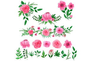 Pink Flower Watercolor Package Graphic Web Elements By Monogram Lovers