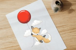 Playing with Balloon ! Happy Cute Fox Graphic Illustrations By onoborgol
