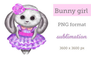 Print on Demand: Purple Bunny Girl Sublimation Gráfico Ilustraciones Por Iva Art