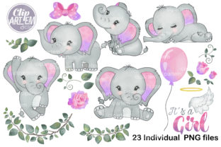 Print on Demand: Purple Pink Girl Elephant 23 PNG Set Graphic Illustrations By clipArtem