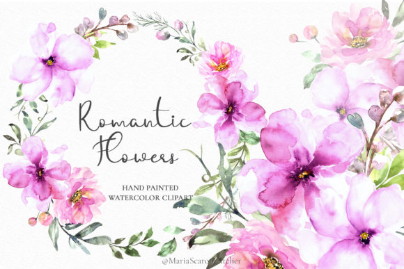 Print on Demand: Romantic Flowers - Watercolor Floral Set Graphic Illustrations By MariaScaroniAtelier
