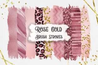 Print on Demand: Rose Gold Brush Strokes Clipart Graphic Backgrounds By PinkPearly