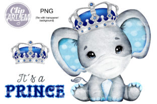 Print on Demand: Royal Elephant SIlver Crown PNG Clip Art Graphic Illustrations By clipArtem