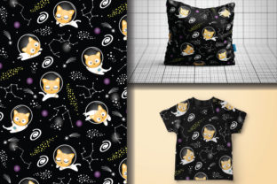 Seamless Pattern Space Cat Astronaut Graphic Patterns By lindoet23