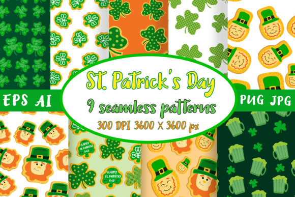 St. Patrick's Day Patterns Graphic Patterns By catcher_sketcher