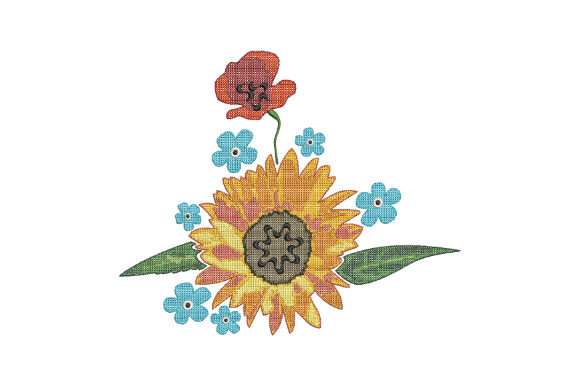 Print on Demand: Sunflower and Poppy Bouquets & Bunches Embroidery Design By EmbArt