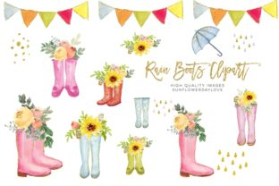Print on Demand: Sunflowers Boots Watercolor Clipart Graphic Illustrations By SunflowerLove