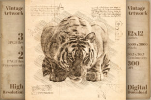 Print on Demand: Tiger Vintage Da Vinci Drawing Style Graphic Illustrations By Vintage 12by12