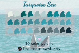Print on Demand: Turquoise Procreate Color Palette Graphic Actions & Presets By idelotama