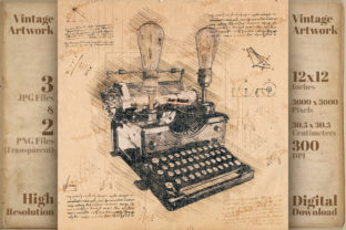 Print on Demand: Typewriter Retro Da Vinci Drawing Style Graphic Illustrations By Vintage 12by12