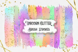 Unicorn Glitter Brush Strokes Clipart Graphic Backgrounds By PinkPearly