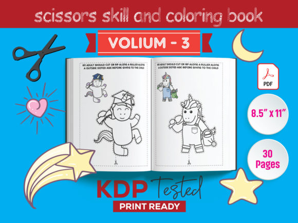 Unicorn Scissors Skill and Coloring Book Grafik KPD Innenseiten von GraphicTech360