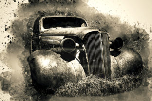 Print on Demand: Vintage Car Printables Pack 09 Graphic Illustrations By The leaves river