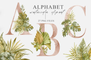 Print on Demand: Watercolor Floral Alphabet Clipart Graphic Illustrations By Tiana Geo