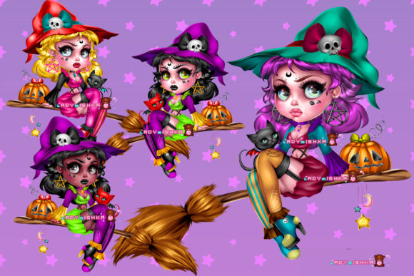Print on Demand: Witch PSD/PNG Graphic Illustrations By ladymishka
