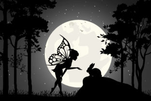 Print on Demand: Cute Fairy and Rabbit Silhouette Graphic Illustrations By curutdesign