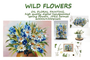 Print on Demand: Daisies and Cornflowers. Oil Painting Graphic Illustrations By Galarta