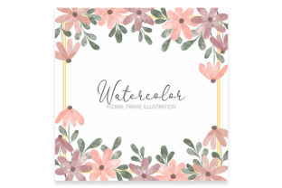 Print on Demand: Watercolor Flower Frame Square Pastel Graphic Illustrations By elsabenaa
