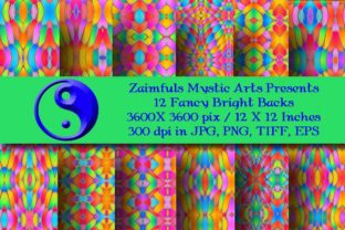Print on Demand: 12 Fancy Bright Backgrounds #1 Graphic Backgrounds By Zaimfuls Mystic Arts